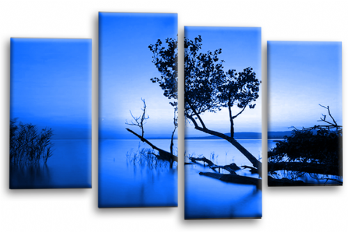 Sunset Landscape Wall Art Picture Blue Cream Canvas Split Panel